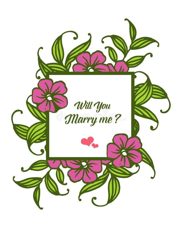 Fleuri d'illustration de vecteur divers du cadre pourpre de fleur pour la lettre vous m'?pouserez illustration de vecteur