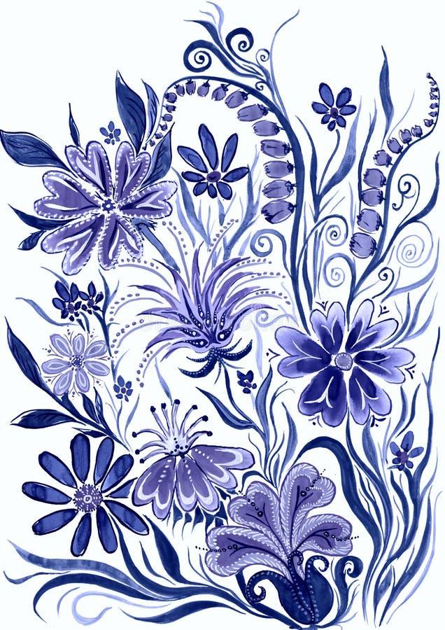 Fleurissez bleu de fond modifié la tonalité - peinture d'aquarelle sur le papier illustration stock