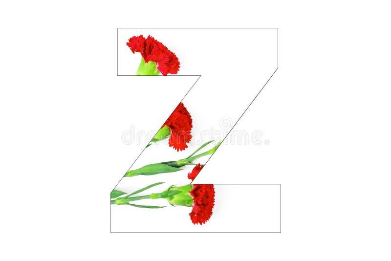 Fleurissez l'a-z d'alphabet de police fait de fleurs d'oeillet photographie stock