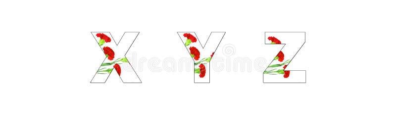 Fleurissez l'a-z d'alphabet de police fait de fleurs d'oeillet photo libre de droits
