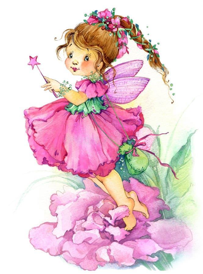 Fleurissez la fée Retrait d'aquarelle illustration stock