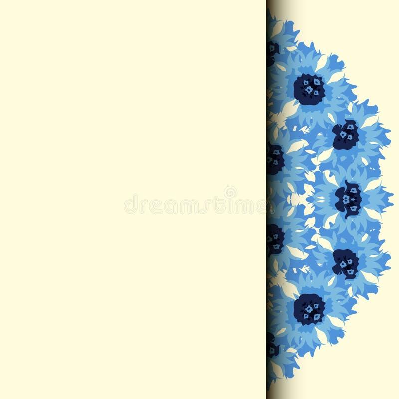 Fleurissez la trame Cadre floral rose Bleuet de bouquet illustration stock
