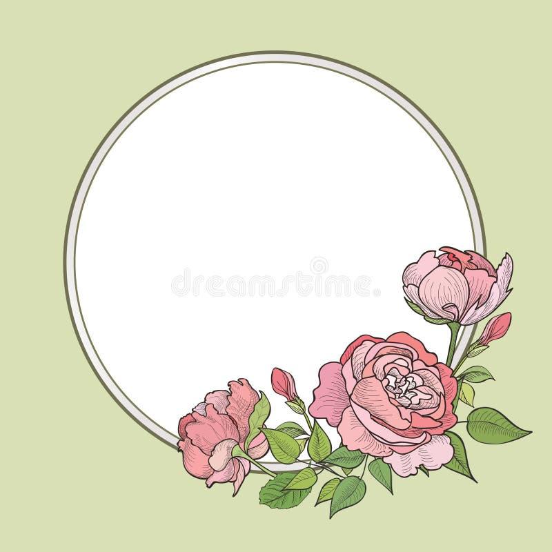 Fleurissez la trame Cadre floral rose Fond de flourish de vintage dans le vict illustration stock