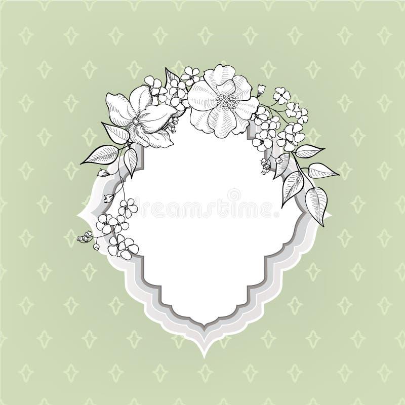 Fleurissez la trame Frontière florale de vintage Style de victorian de Flourish illustration de vecteur