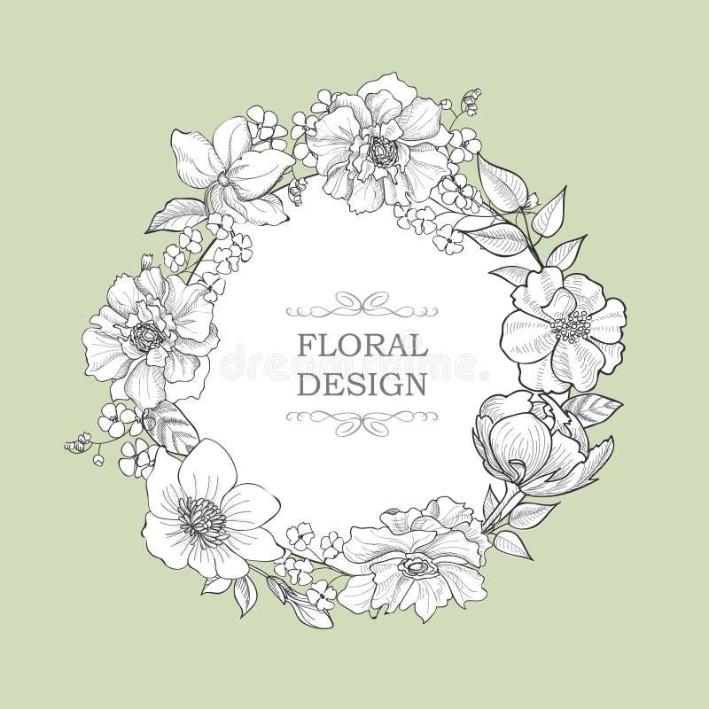 Fleurissez la trame Frontière florale de vintage Style de victorian de Flourish illustration stock