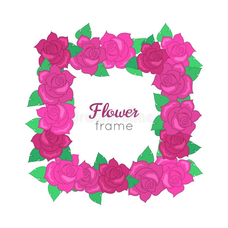 Fleurissez la trame Guirlande de Squar de différentes fleurs illustration stock