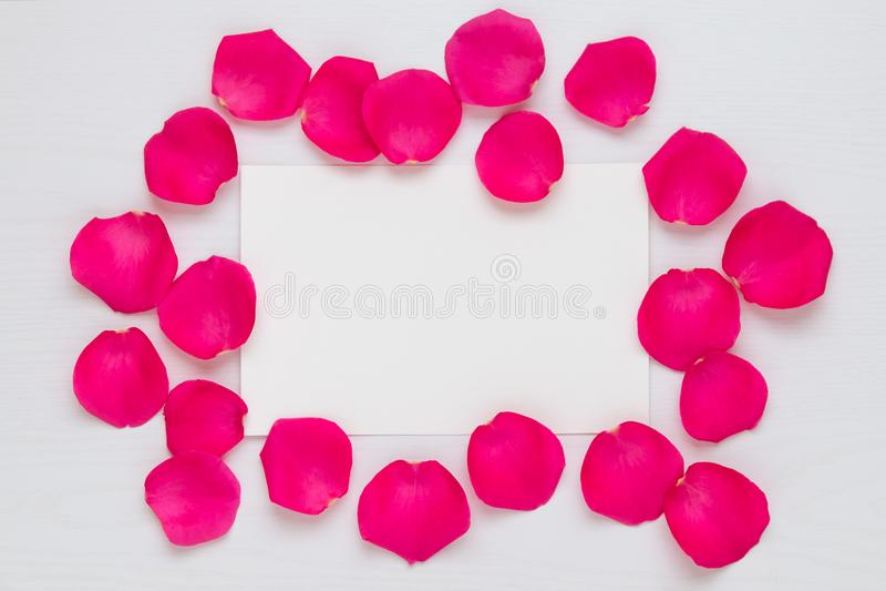 Fleurissez le cadre avec des pétales de rose et copiez l'espace pour votre texte, moquerie image stock