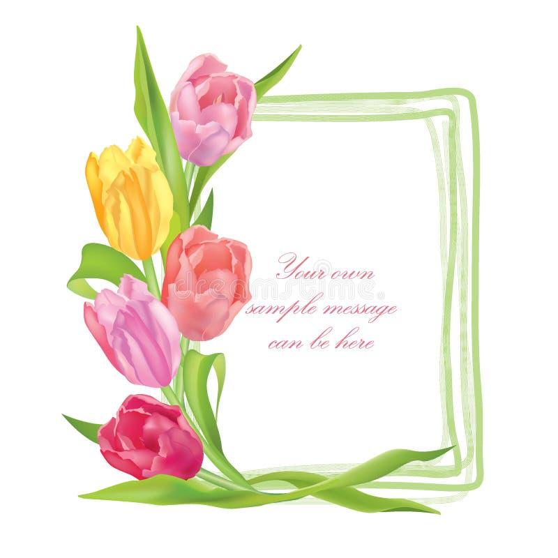 Fleurissez le cadre de bouquet de tulipes d'isolement sur le fond blanc illustration stock