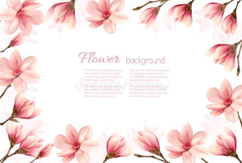 Fleurissez le fond avec une frontière des fleurs roses de magnolia illustration stock