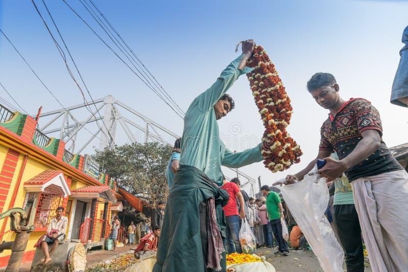 Fleurissez le marché de Kolkata, le Bengale-Occidental, Inde photographie stock libre de droits