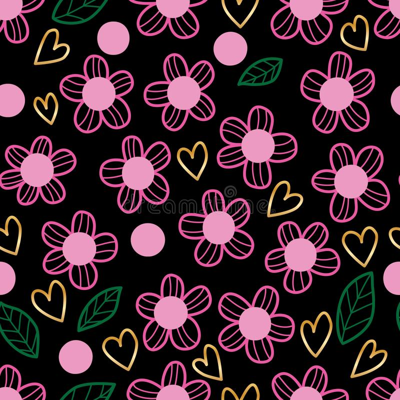 Fleurissez le modèle sans couture de feuille de vert d'amour de style rose d'or illustration libre de droits