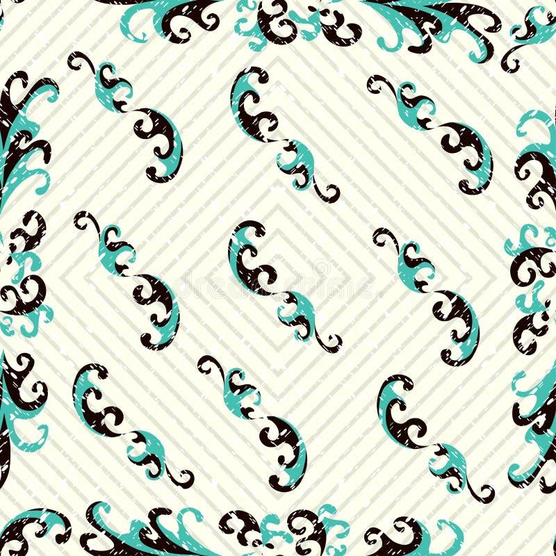 Fleurissez le modèle sans couture de vecteur abstrait de pétales sur un fond grunge géométrique d'effet de fond clair illustration stock