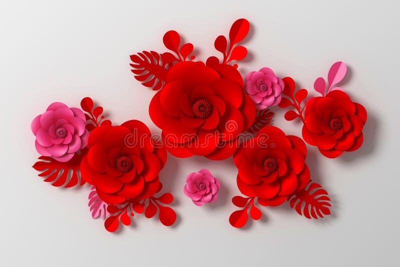 Fleurissez le style de papier, rose colorée, le métier de papier floral, le rendu 3d, avec le chemin de coupure illustration de vecteur