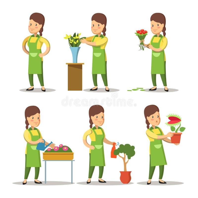 Fleuriste féminin Cartoon Set Fleurs de jardinage de femme illustration de vecteur