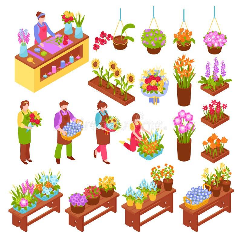 Fleuriste Isometric Set illustration libre de droits