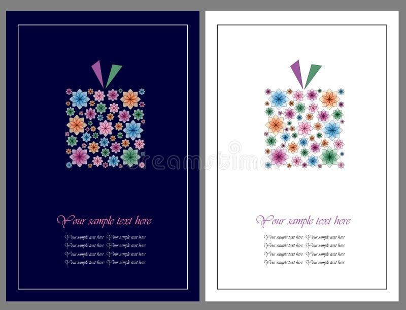 Fleurit des cartes de voeux de cadeau illustration de vecteur