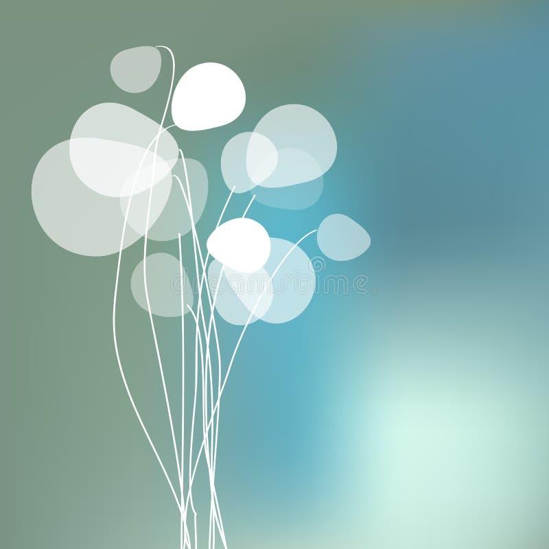 Fleurit des pissenlits sur un fond de brouillard de bokeh illustration stock