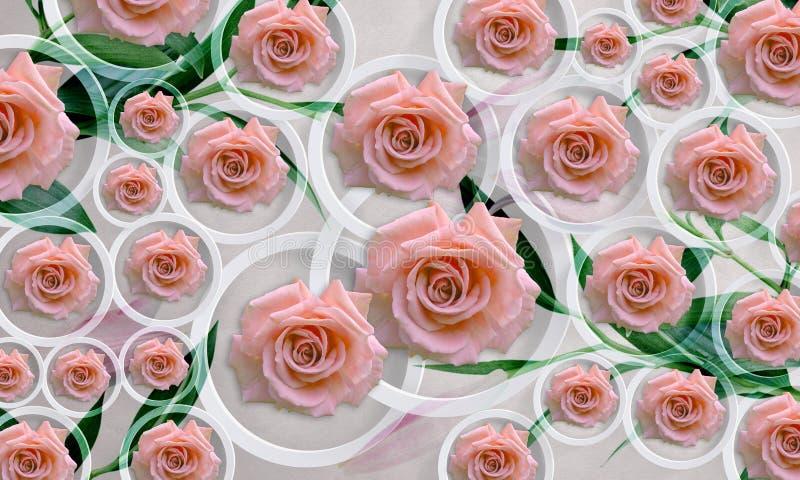 Fleurit des roses sur le fond blanc en cercles Papier peint de photo pour l'intérieur rendu 3d illustration de vecteur