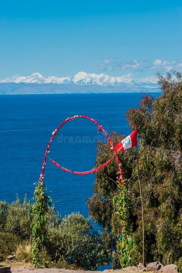 Fleurit l'île les Andes péruviens Puno Pérou de Taquile de passage images libres de droits