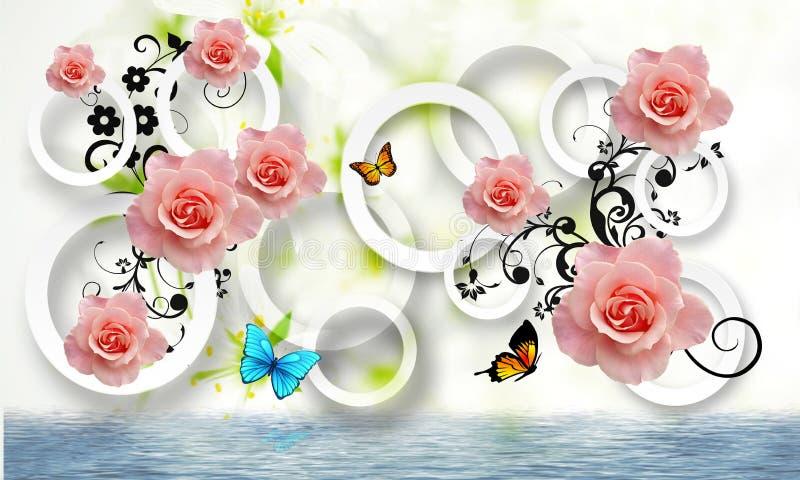 Fleurit l'abstraction Papier peint de photo pour les murs rendu 3d illustration libre de droits