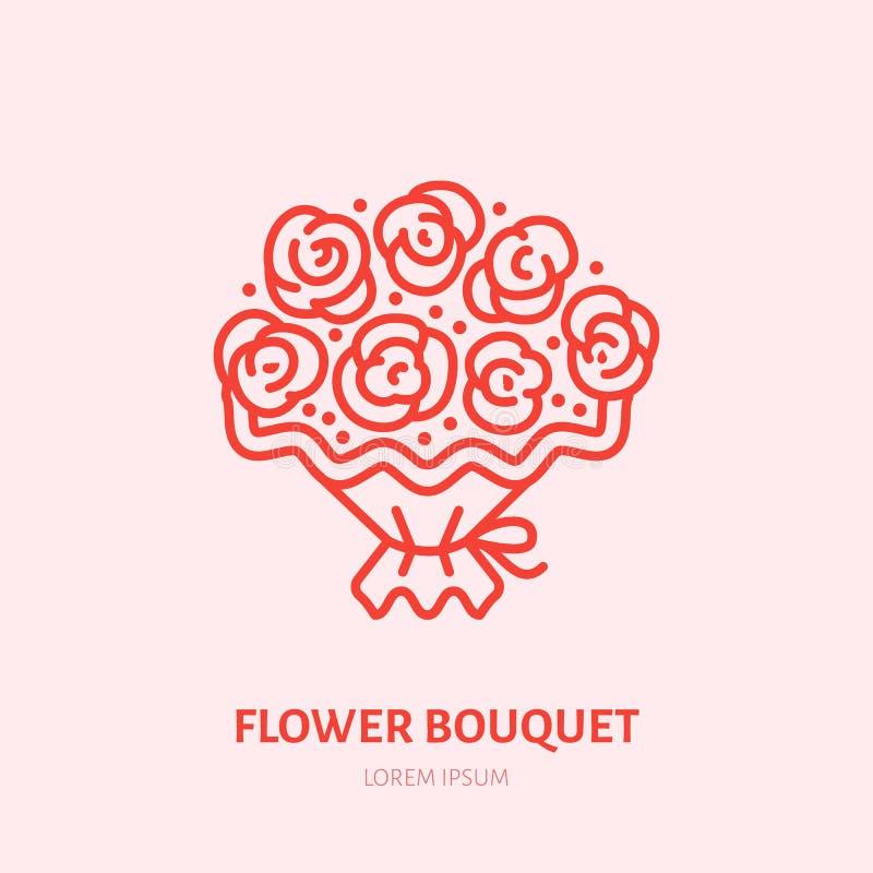 Fleurit l'illustration de bouquet Ligne plate icône de roses rouges Signe de présent de jour de valentines illustration stock