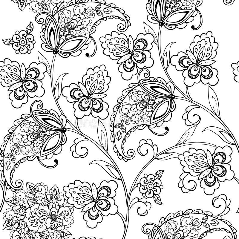 Fleurit l'ornement oriental Paisley pour l'anti page de coloration d'effort images libres de droits
