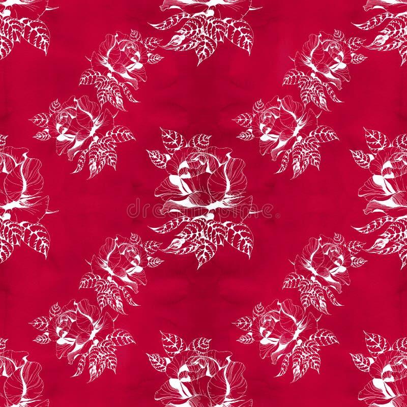 Fleurit la branche d'A des roses avec des feuilles, des fleurs et des bourgeons watercolor Fond sans couture illustration libre de droits
