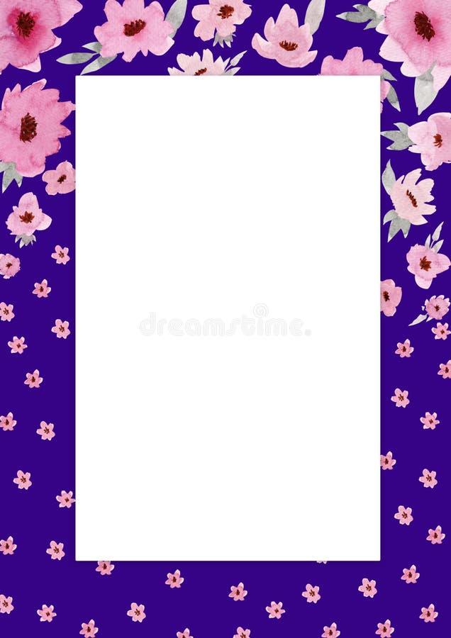 Fleurit la composition Cadre violet rectangulaire fait de fleurs et feuilles roses avec l'espace pour le texte illustration stock