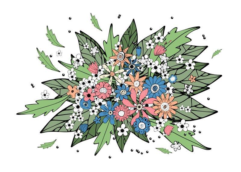 Fleurit la composition dans le style de griffonnage Ilustration de vecteur illustration libre de droits