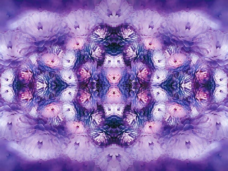 Fleurit le chrysanthème blanc pourpre sur le fond trouble fond floral de vintage de couleur violette Composition de fleur illustration de vecteur