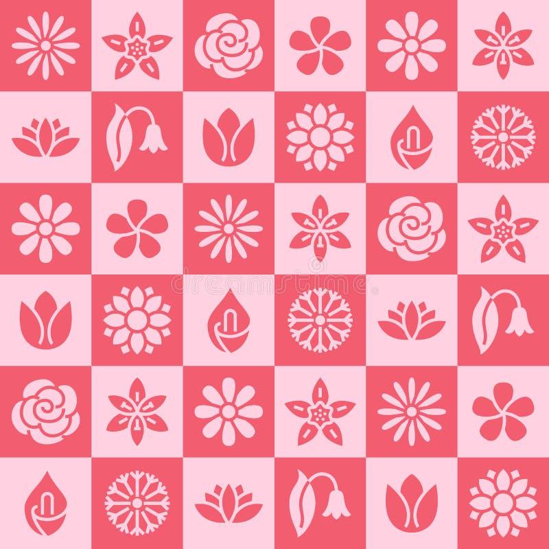 Fleurit le modèle sans couture avec les icônes plates de glyph Les belles usines de jardin de fond floral camomille, tournesol, s illustration de vecteur