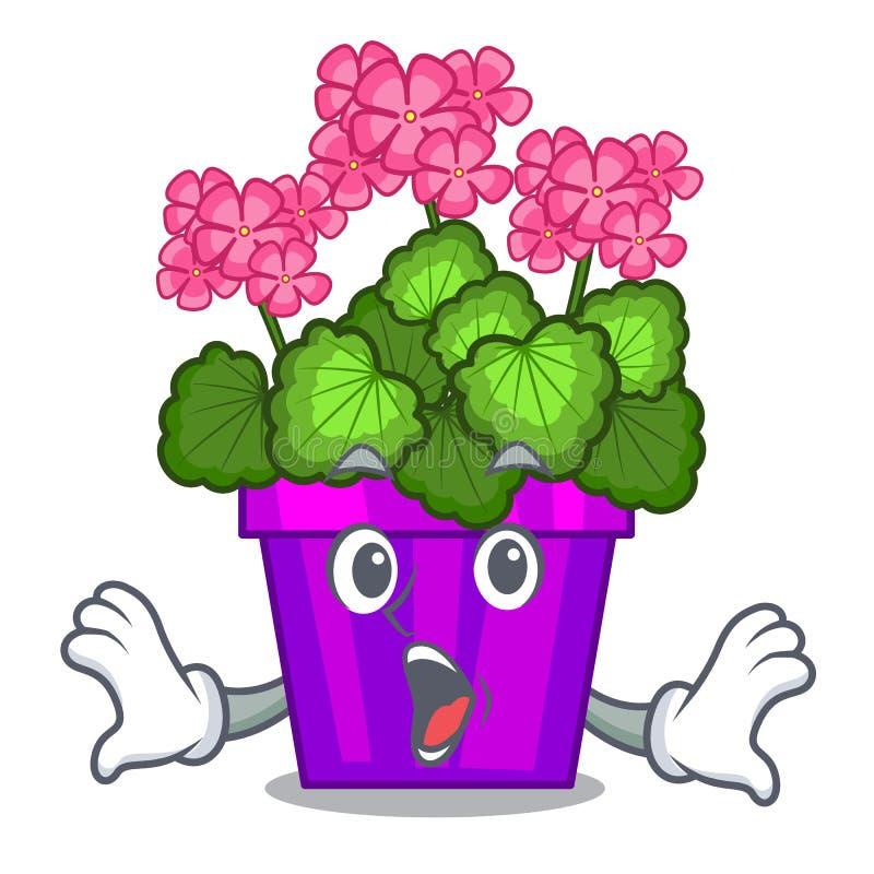 Fleurs étonnées de géranium dans le pot de bande dessinée illustration libre de droits
