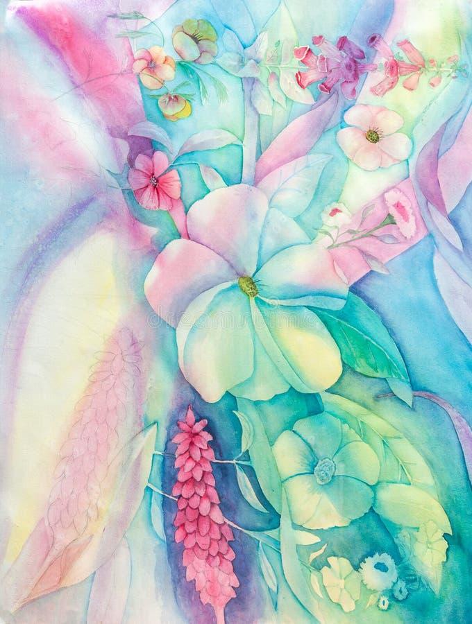 Fleurs abstraites dans des couleurs en pastel - aquarelle originale illustration de vecteur