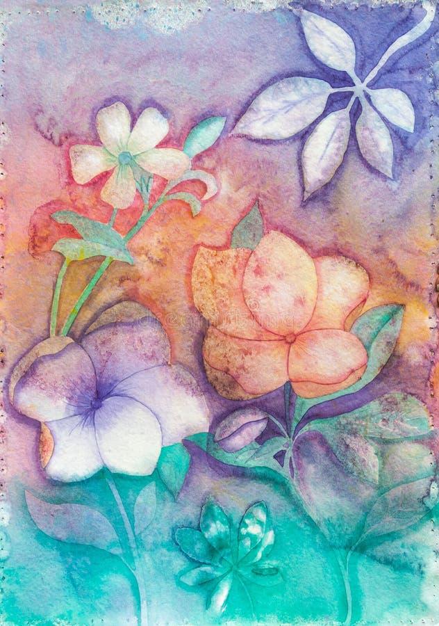 Fleurs abstraites dans des couleurs en pastel - peinture originale illustration stock