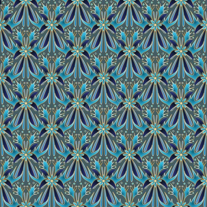 Fleurs abstraites et formes géométriques avec un contour d'or photos libres de droits