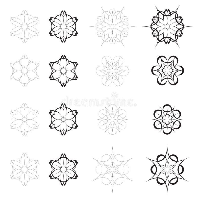 Fleurs abstraites noires et blanches illustration stock