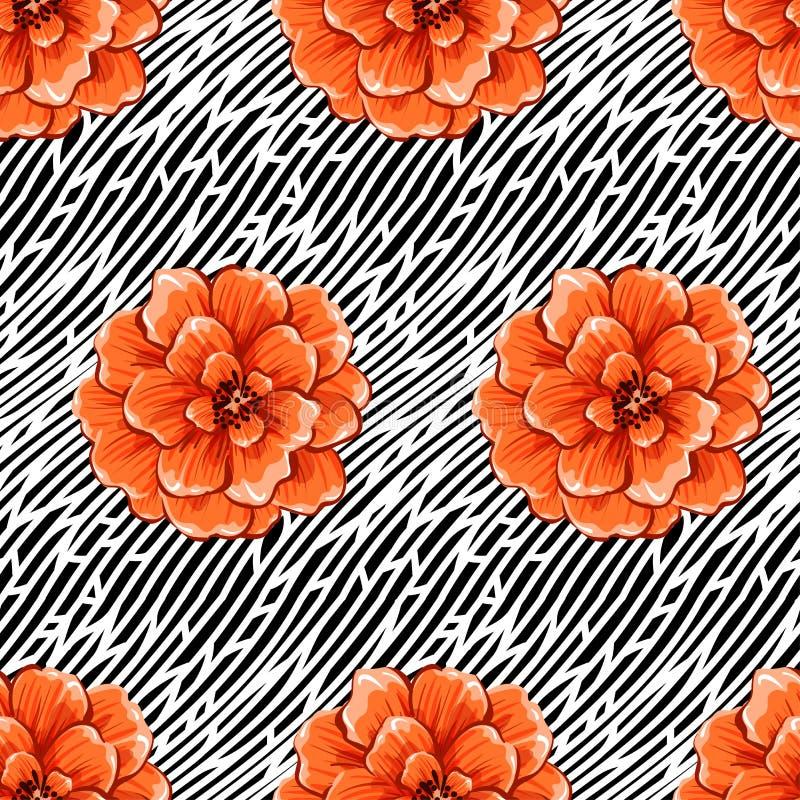 Fleurs abstraites sans couture sur le fond noir et blanc de rayures de vague Mod?le eps10 de vecteur image libre de droits