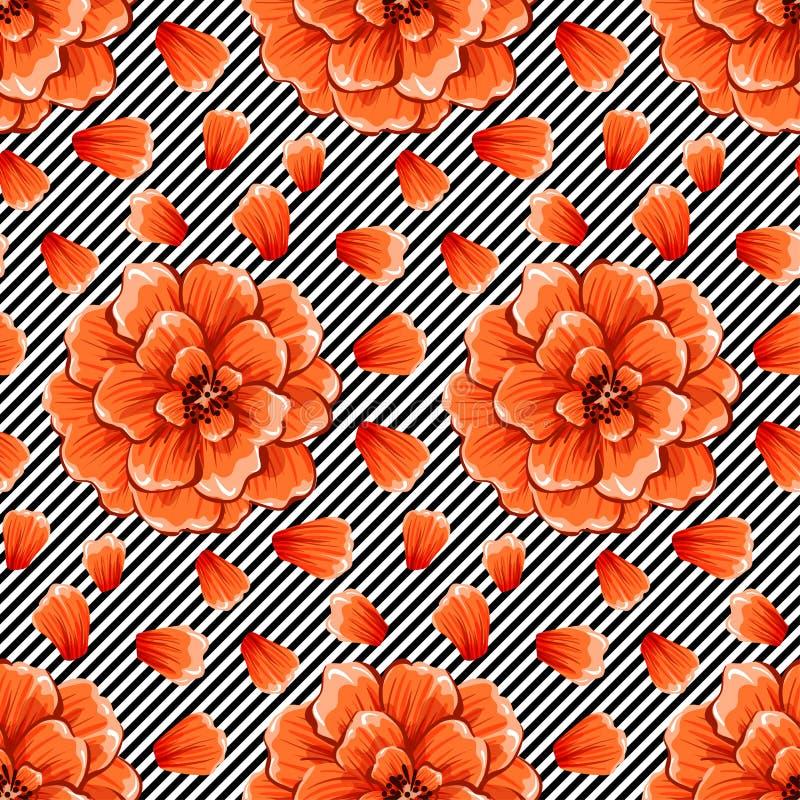 Fleurs abstraites sans couture sur le fond noir et blanc de rayures de vague Mod?le eps10 de vecteur photos stock