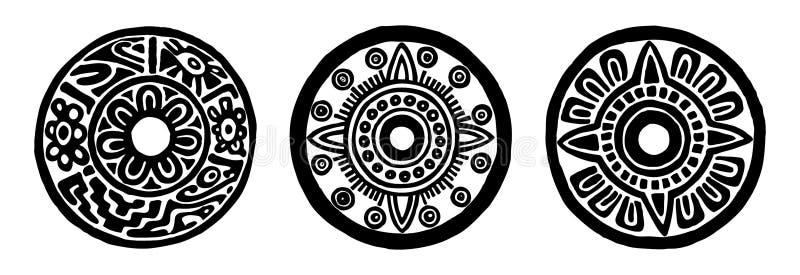 Fleurs antiques de cercle de Maya illustration de vecteur