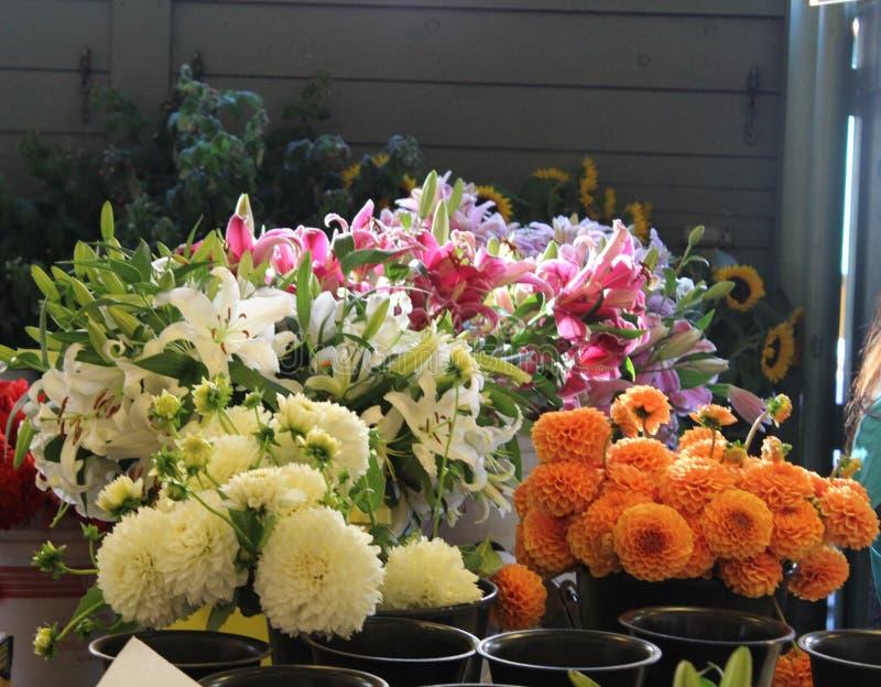 Fleurs au marché d'agriculteurs photographie stock