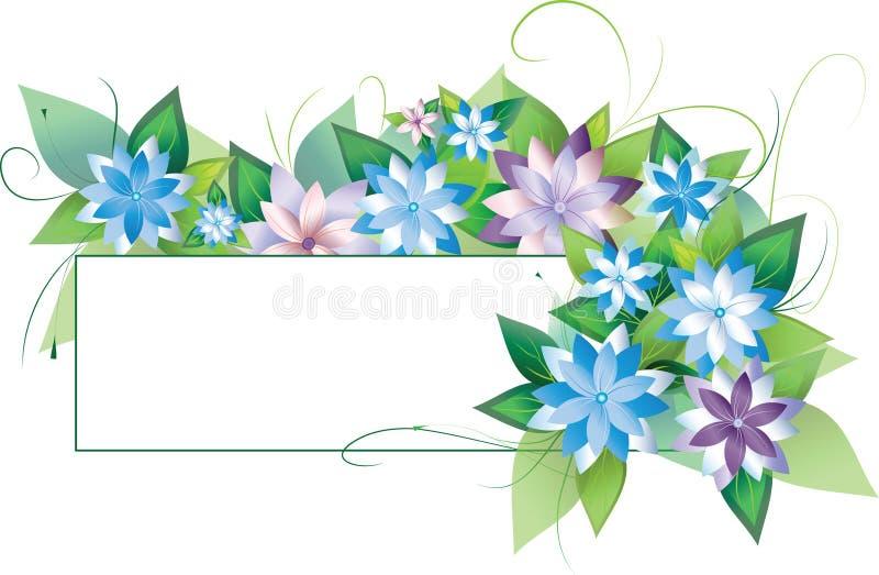 Fleurs avec les lames et la trame illustration de vecteur