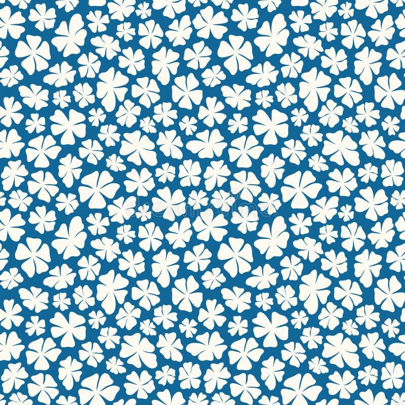 Fleurs blanches écervelées tirées par la main sur un fond bleu dans un modèle sans couture jeté en l'air Jolie conception florale illustration stock