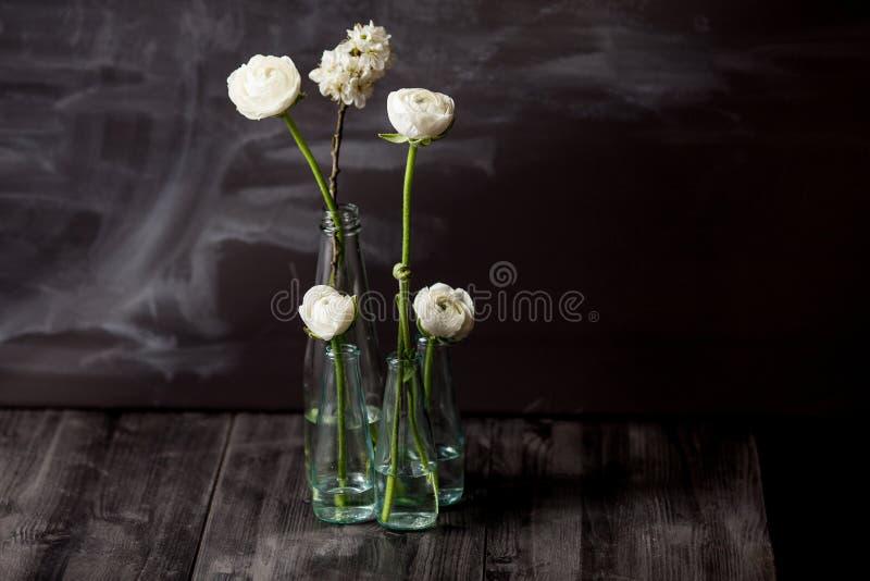 Fleurs blanches dans les bouteilles photographie stock