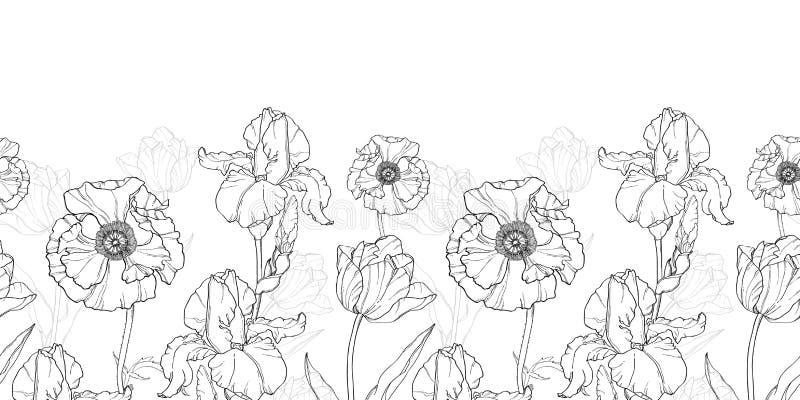 Fleurs blanches de noir de vintage de vecteur dessinant le modèle sans couture de répétition de frontière horizontale illustration libre de droits