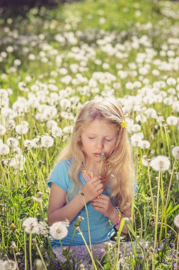 Fleurs blanches de soufflement de pissenlit de fille adorable photographie stock libre de droits