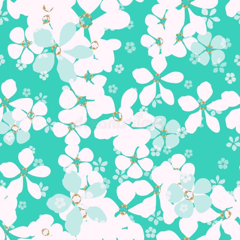 Fleurs blanches et bleues sur le fond de bleus layette illustration libre de droits