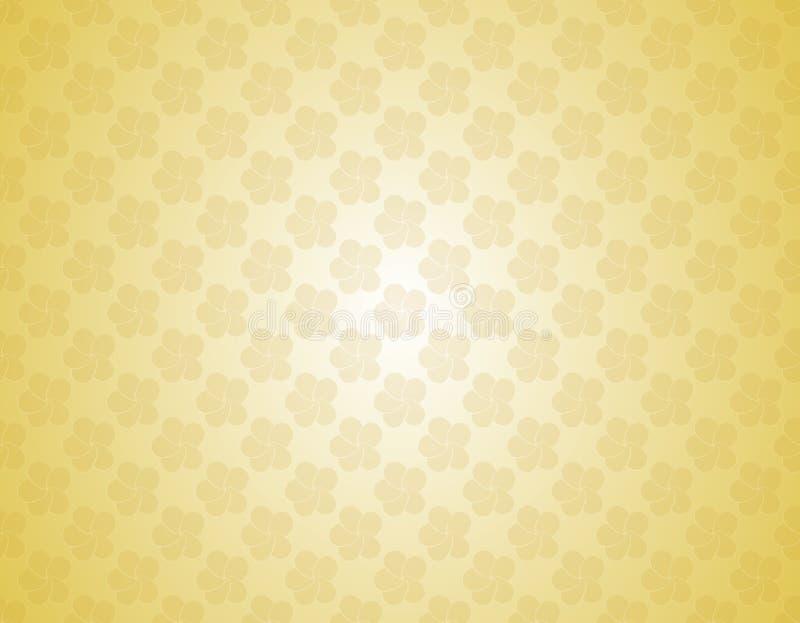 Fleurs blanches et jaunes de contexte d'or de couleur de cru de gradient de vecteur de plumeria illustration de vecteur
