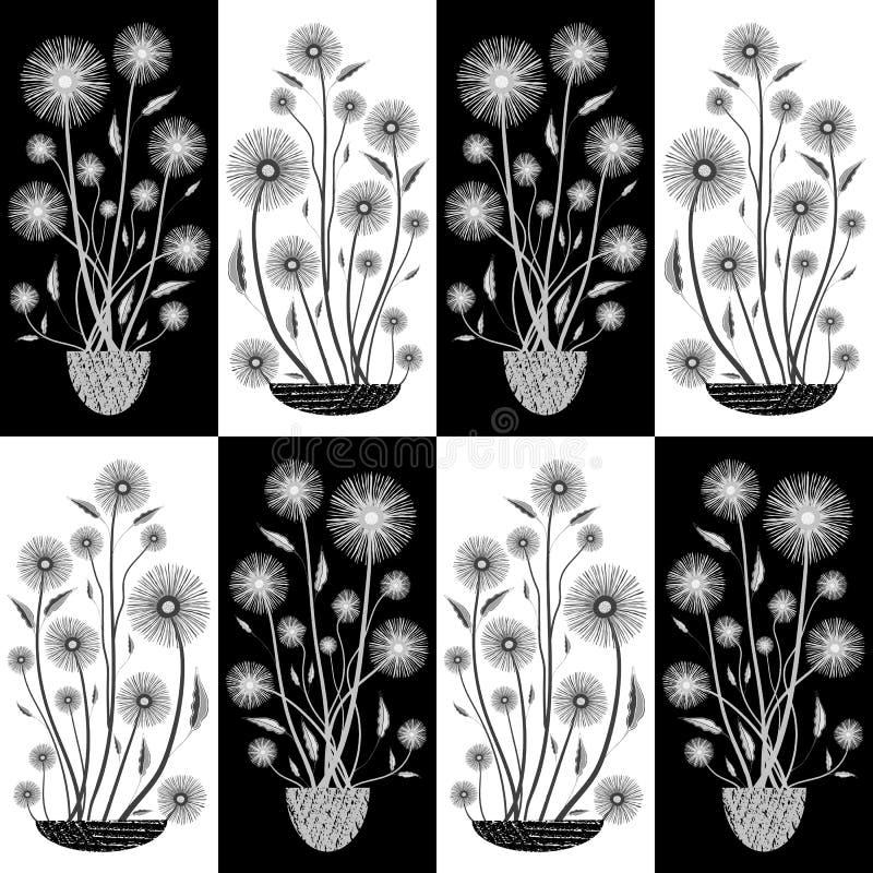 Fleurs blanches et noires tirées par la main élégantes dans la demi conception de baisse Modèle sans couture de vecteur sur le fo illustration de vecteur