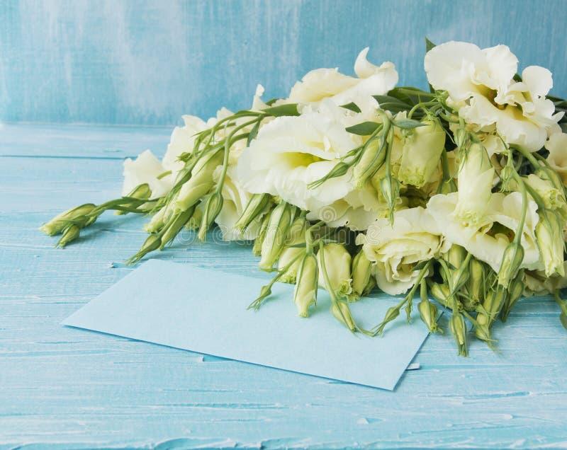 Fleurs blanches se trouvant sur un conseil en bois bleu images libres de droits