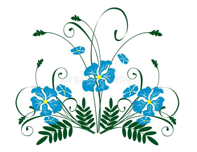 Fleurs bleues illustration de vecteur